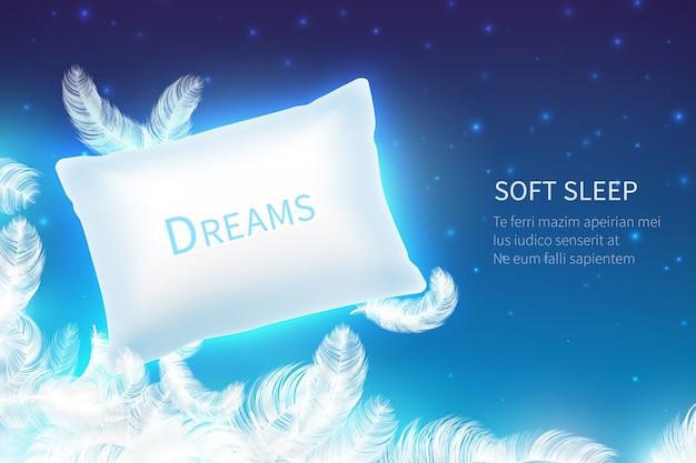 Sonno realistico. cuscino per dormire morbido con piume, nuvole e cielo notturno stellato. sogna e riposa in 3d