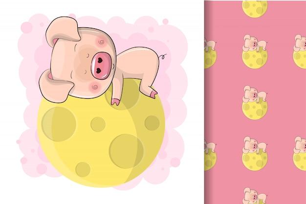 Sonno sveglio disegnato a mano del maiale del bambino sulla luna