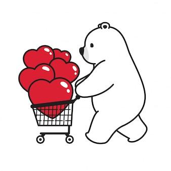 Sopporti il carrello del fumetto del biglietto di s. valentino del cuore dell'orso polare di vettore