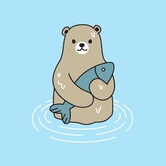 Sopporti il fumetto dell'icona del salmone del pesce dell'orso polare di vettore