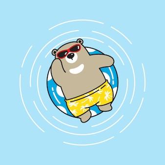 Sopporti l'illustrazione del personaggio dei cartoni animati della piscina della spiaggia dell'orso polare dell'orso