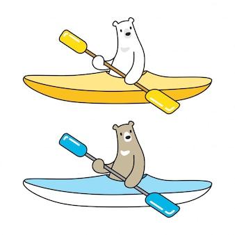 Sopporti l'illustrazione del personaggio dei cartoni animati di logo dell'icona del kajak della barca dell'orso polare di vettore