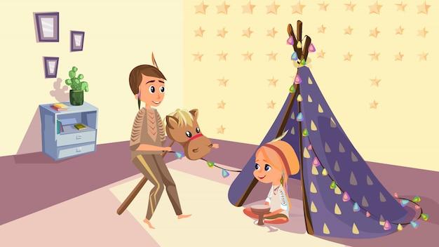 Sorelle dei cartoni animati in costume indiano nativo americano