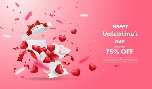 Sorpresa confezione regalo bianca con nastro rosso e palloncino cuori, confezione regalo aperto isolato, design di san valentino.