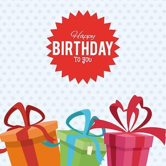 Sorpresa di scatole regalo festa di buon compleanno sorpresa punteggiata
