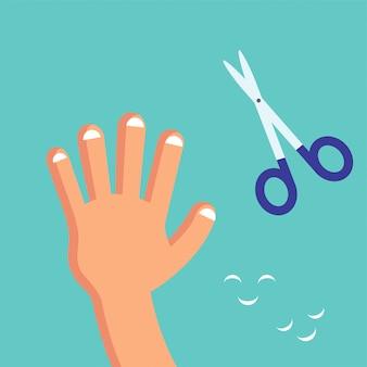 Sorridente carino taglio unghie a un bambino, carta di bambino habituate o poster.