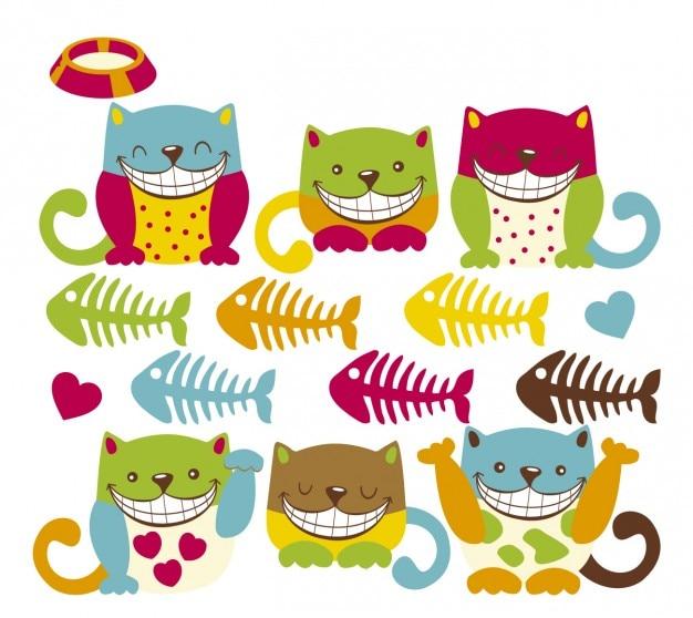 Sorridente colorato gattino