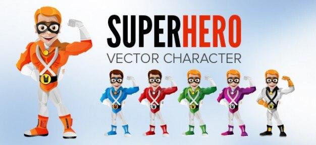 Sorridente personaggio supereroe. colori diversi.