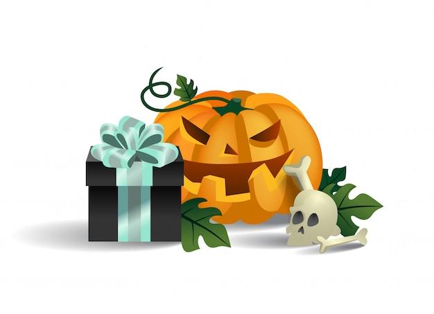Sorridente scatola di zucca, teschio e regalo. personaggio dei cartoni animati di halloween