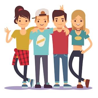 Sorridenti giovani che abbracciano gli amici