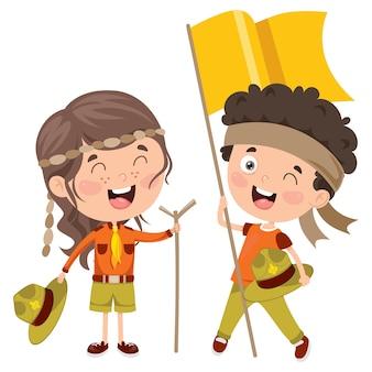 Sorridere felice dei bambini del piccolo scout