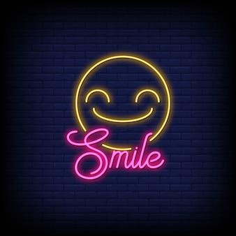 Sorridi con emoticon in insegne al neon
