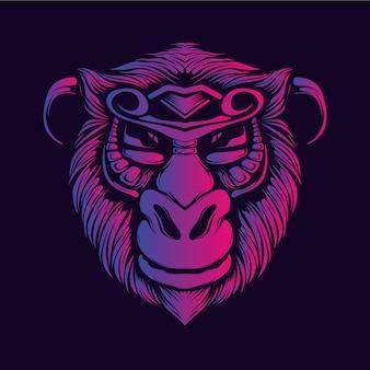 Sorriso scimmia faccia bagliore grafica a colori