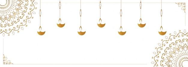 Sospensione diya lampada sul banner bianco