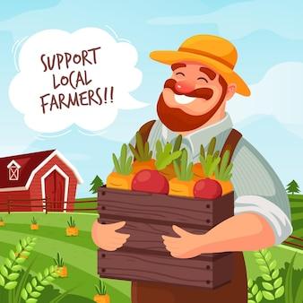Sostieni l'illustrazione del concetto di agricoltori locali