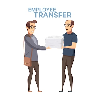 Sostituzione dei dipendenti. illustrazione di riserva di turnover del lavoratore in stile cartone animato piatto. trasferimento di un capo o di un manager in un altro posto di lavoro, rotazione del lavoro. licenziamento ingiusto negli affari.