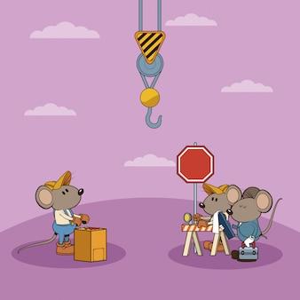 Sotto i cartoni animati dei lavoratori dei mouses di constrution