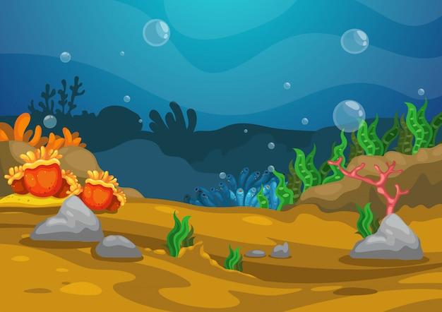 Sotto il vettore di sfondo del mare