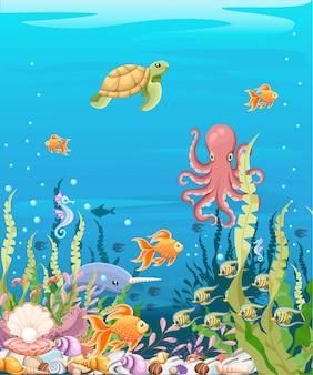 Sotto lo sfondo del mare marine life landscape - l'oceano e il mondo sottomarino con diversi abitanti. per la stampa, creare video o grafica web, interfaccia utente, carta, poster.