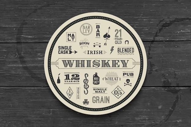 Sottobicchiere per whisky e bevande alcoliche
