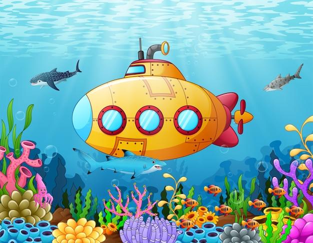 Sottomarino di cartone animato sott'acqua