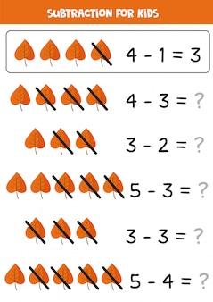 Sottrazione con foglie autunnali carine. gioco di matematica per bambini.