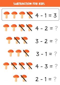Sottrazione con funghi del fumetto. gioco di matematica per bambini.