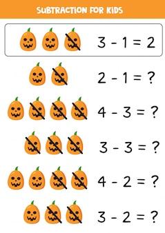Sottrazione con spettrali zucche di halloween. gioco per bambini.