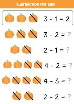 Sottrazione con zucca cartone animato. gioco di matematica educativo per bambini.
