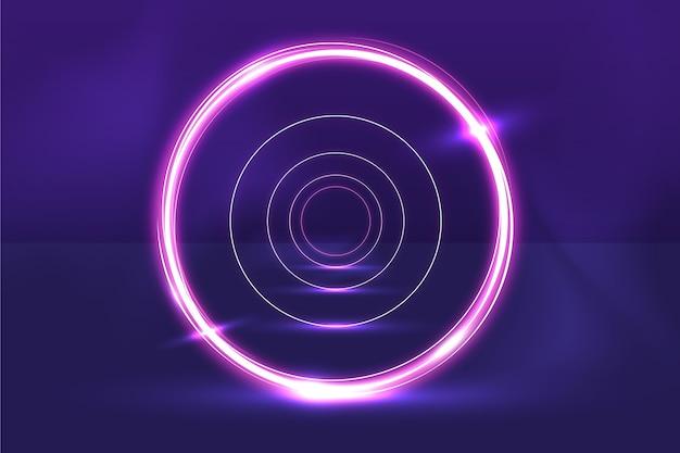 Soundcheck circolare astratto luci al neon sullo sfondo