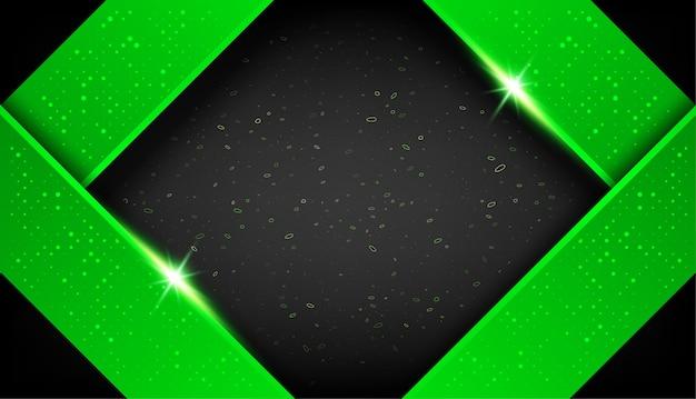 Sovrapposizione di forma astratta verde nero cornice layout design tech con glitter ed effetto luce