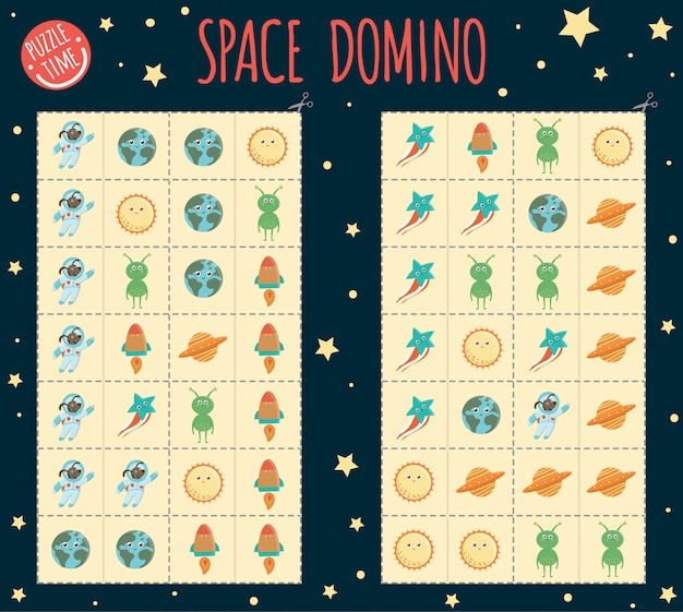 Space domino per bambini. gioco da tavolo con pianeta, terra, sole, rucola, alieno, ufo, stella. attività di abbinamento per l'educazione precoce