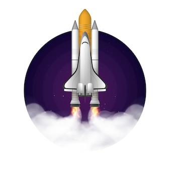 Space shuttle. combattente. il booster decolla.
