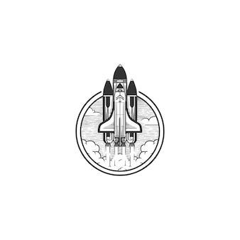 Space shuttle logo vintage illustration