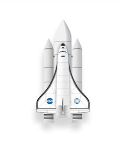 Space shuttle su sfondo bianco.