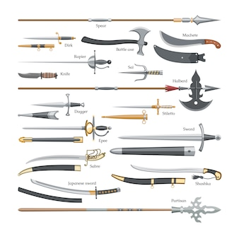 Spada arma medievale di cavaliere con lama affilata e pirati coltello illustrazione spadone set di ascia di battaglia o coltello e lancia su sfondo bianco