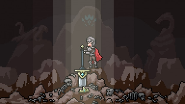 Spada leggendaria scena pixel art