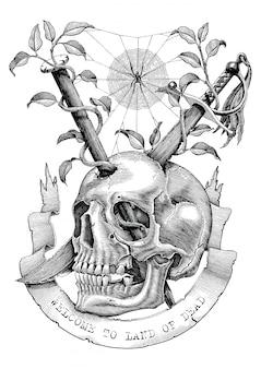 Spade e chiodi sono inseriti nel cranio nella terra deserta. illustrazione di incisione stile vintage per l'arte del tatuaggio.