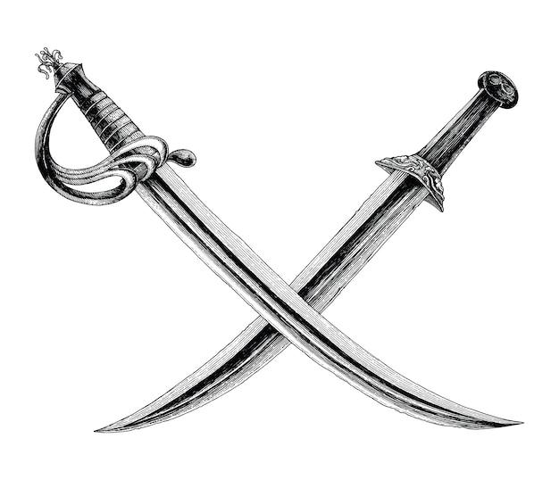 Spade incrociate, simbolo del pirata, logo mano disegno stile vintage isolare su sfondo bianco
