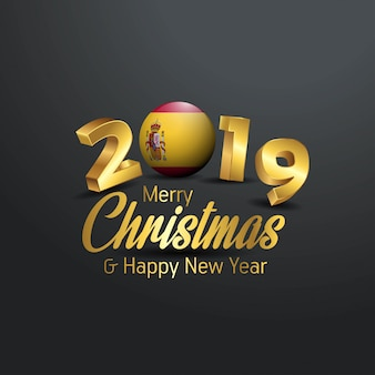 Spain flag 2019 merry christmas typography