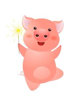 Sparkler eccitato della tenuta del maiale