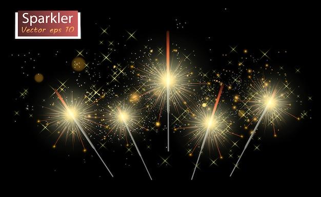 Sparkler. fuochi d'artificio scintillanti sullo sfondo. effetto luce realistico.