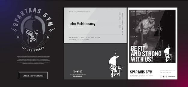 Spartan gymnastic set logo, biglietto da visita e modello di volantino in nero e grigio