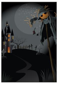 Spaventapasseri brutti sul bastone all'illustrazione di notte