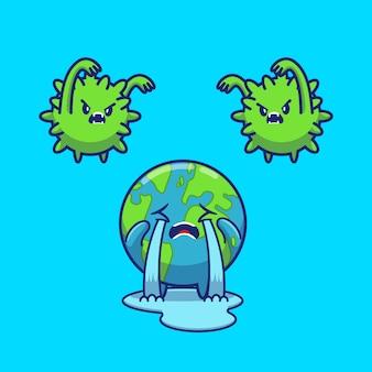 Spavento del mondo corona virus icon illustration. personaggio dei cartoni animati di corona mascotte. concetto dell'icona del mondo isolato