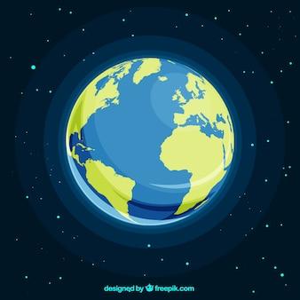 Spazio con il pianeta terra nel design piatto