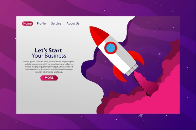 Spazio con rocket fly startup business web banner
