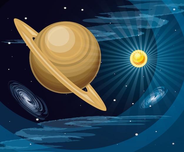 Spazio con saturno pianeta universo scena