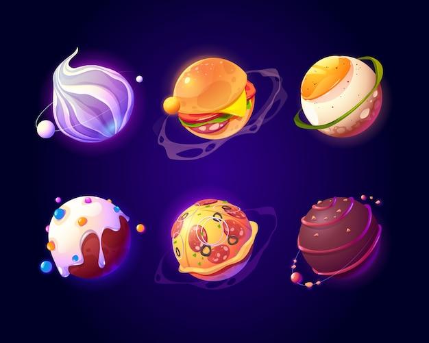 Spazio con texture di pianeti alimentari, pizza e caramelle