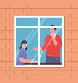 Spazio di coworking all'interno della finestra, lavoro di squadra di coppia.